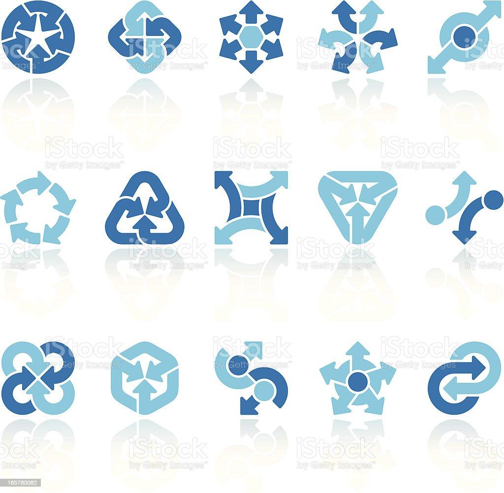 arrow signs set blue X vector art illustration