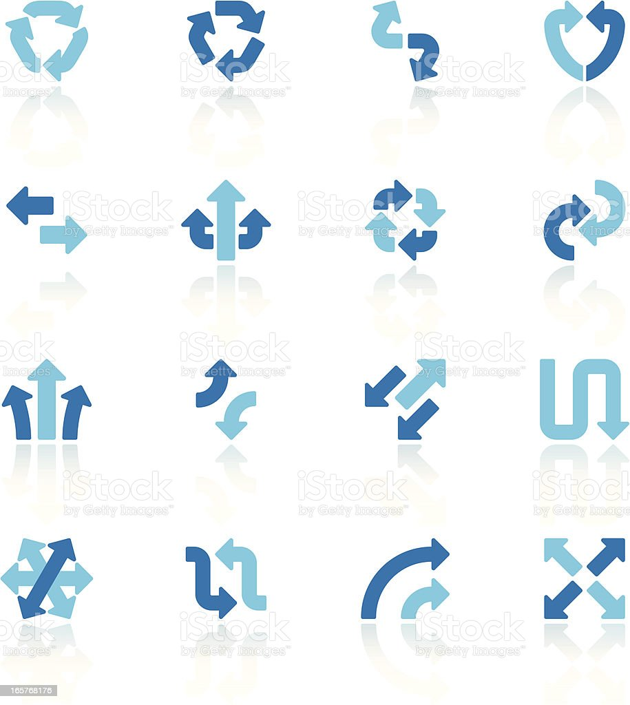 arrow signs set VI blue vector art illustration