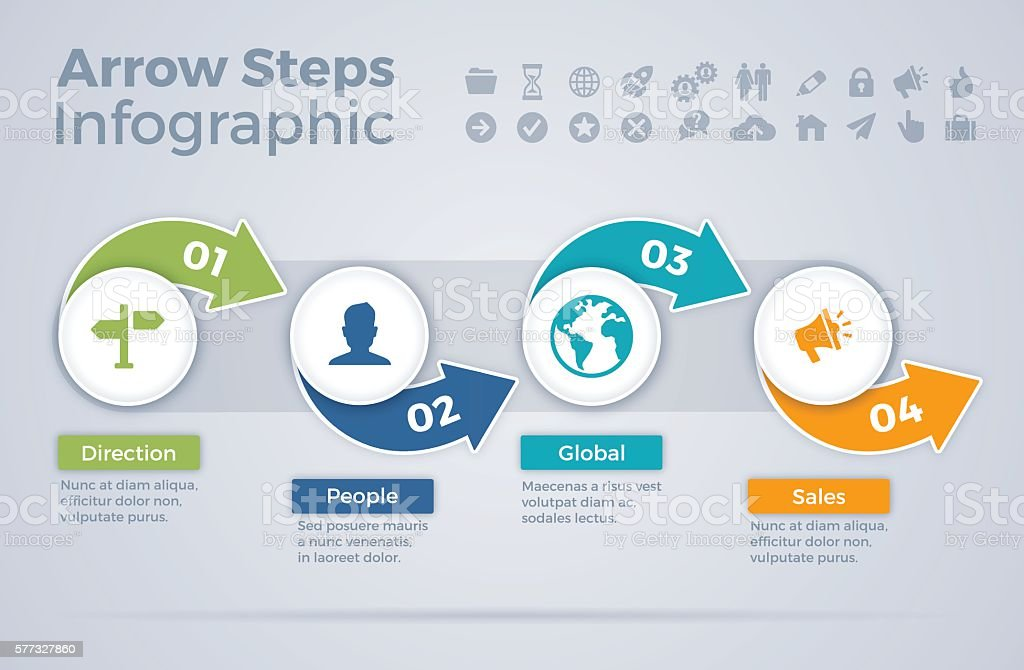 Arrow Steps Infographic vector art illustration