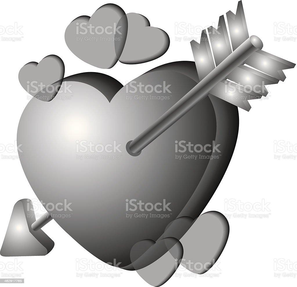 Arrow Through Heart royalty-free stock vector art