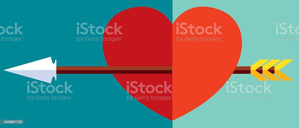 Arrow through the heart vector art illustration
