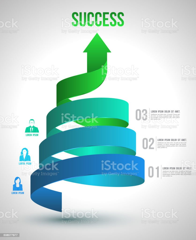 Arrow twist up to success number options with icons. vector art illustration