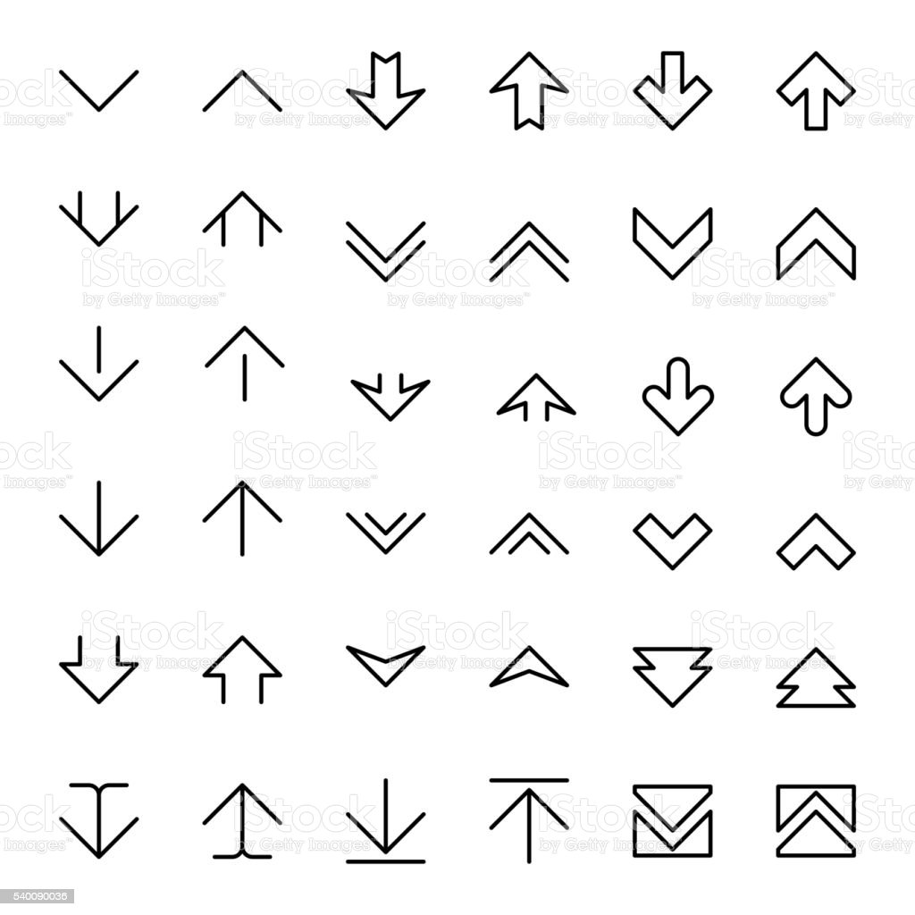Arrow up and down scrolling vector buttons vector art illustration