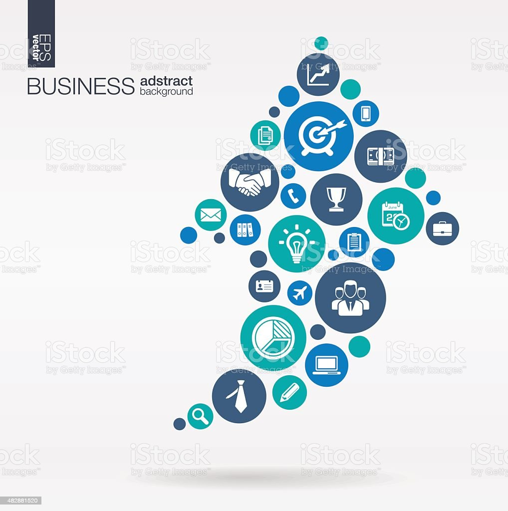 Arrow up shape business illustration: connected circles, integrated flat icons vector art illustration