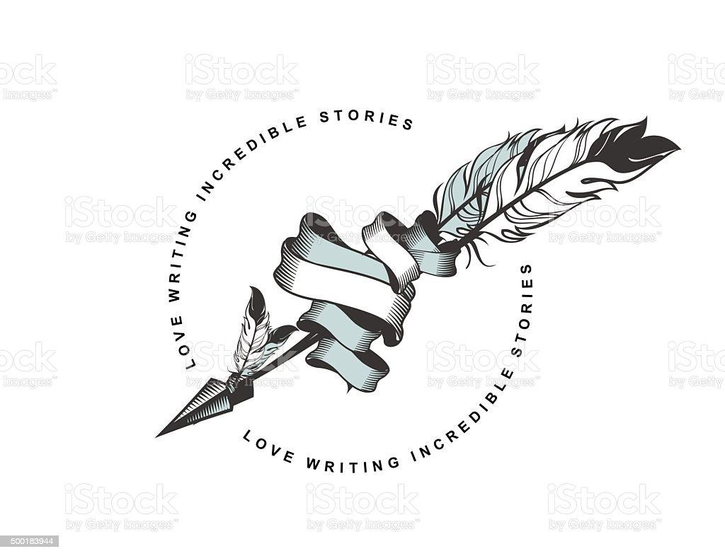 Arrow with feather emblem vector art illustration