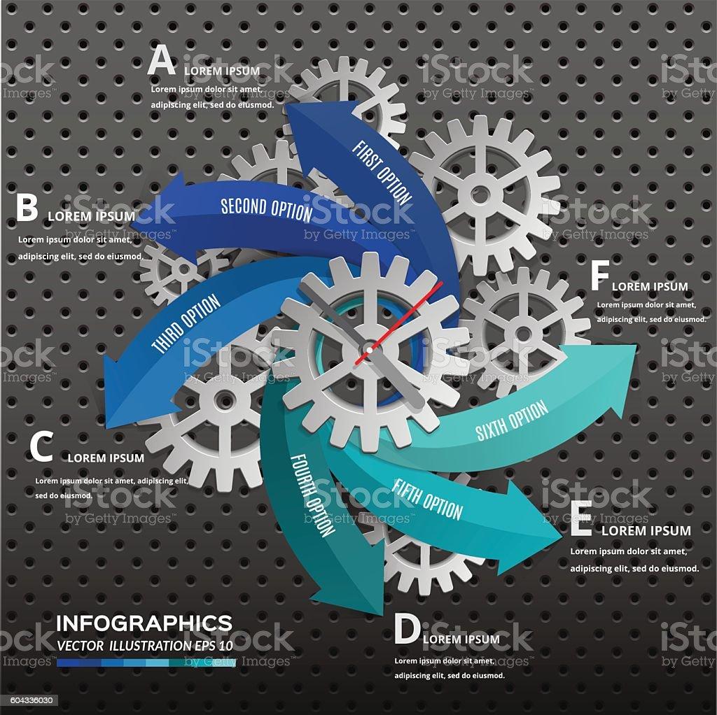 Arrow with gear wheel for infographic presentation design. vector art illustration