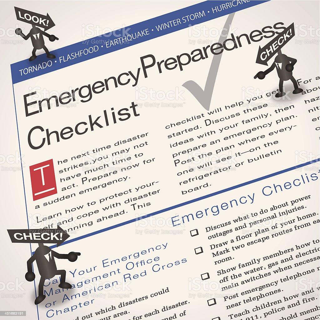 Arrowmen[Emergency checklist] vector art illustration