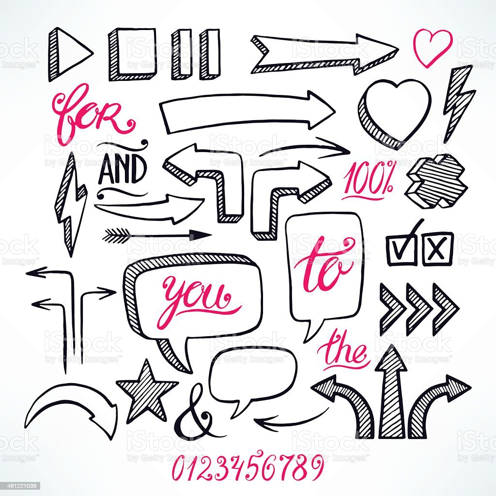 arrows and bubbles on white background vector art illustration