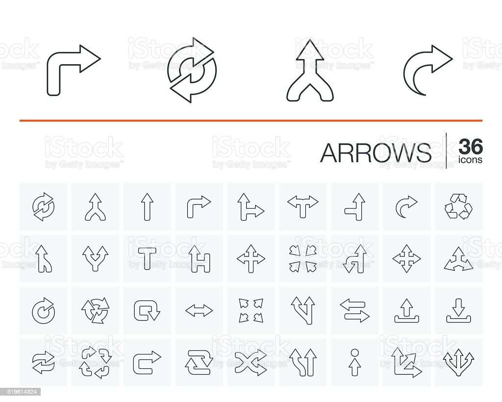 Arrows and direction vector icons vector art illustration