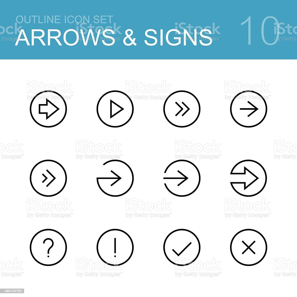 Arrows and signs vector outline icon set vector art illustration