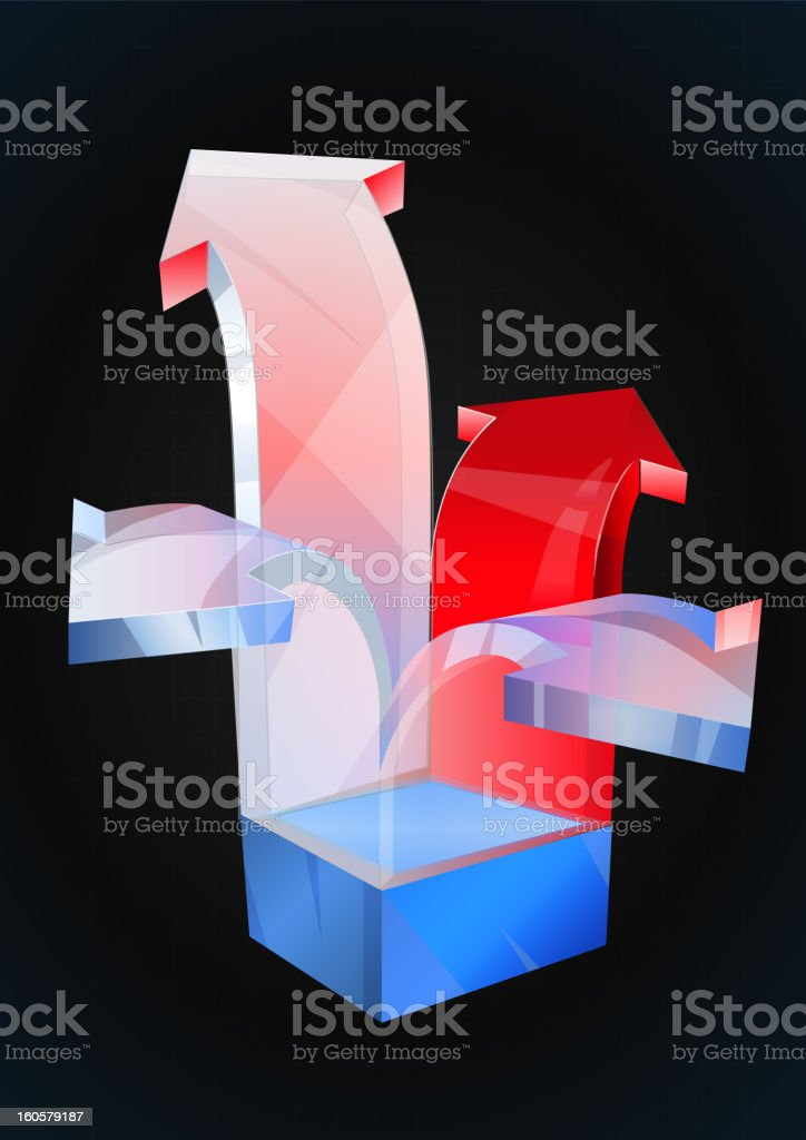Arrows coming out of box royalty-free stock vector art