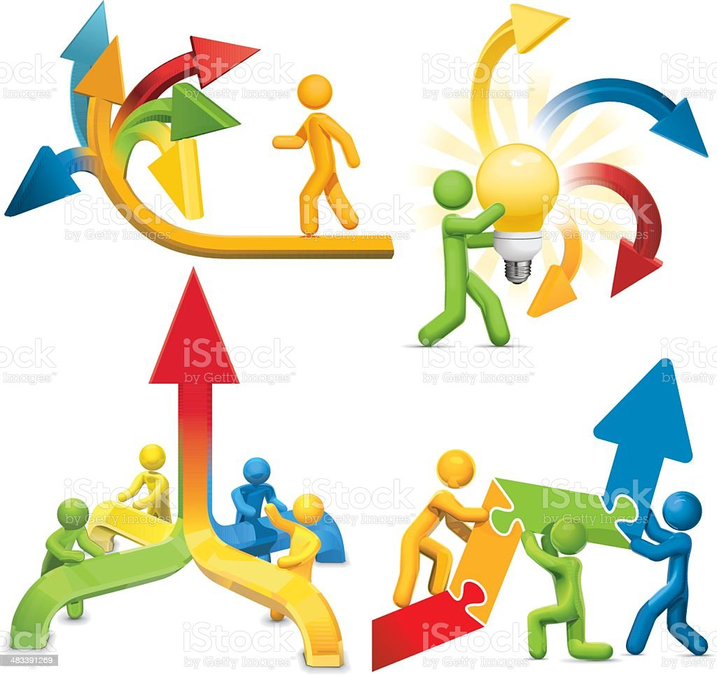 Arrows: Confusion. Teamwork. Feedback. Success. royalty-free stock vector art