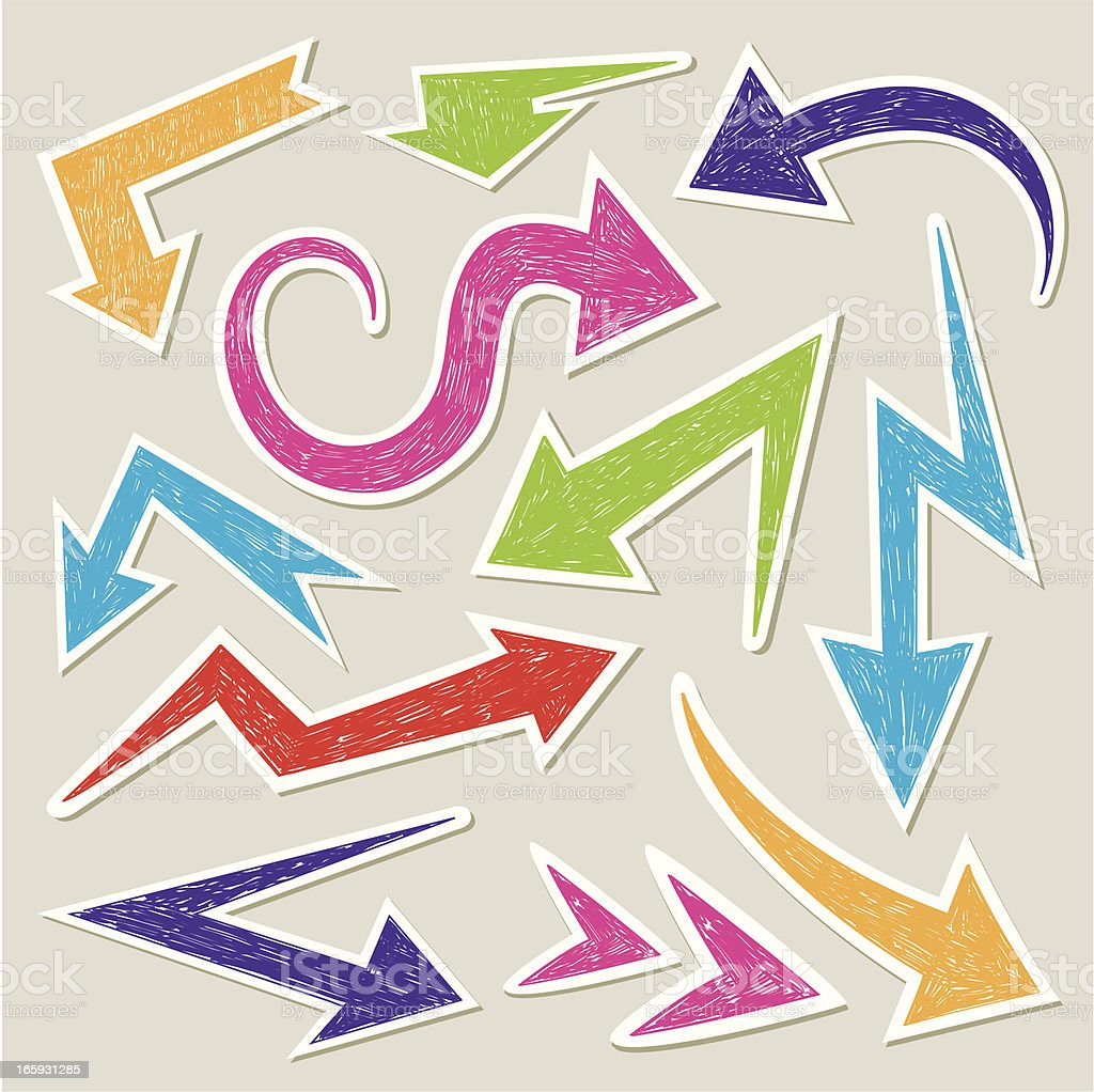 Arrows doodle stickers royalty-free stock vector art