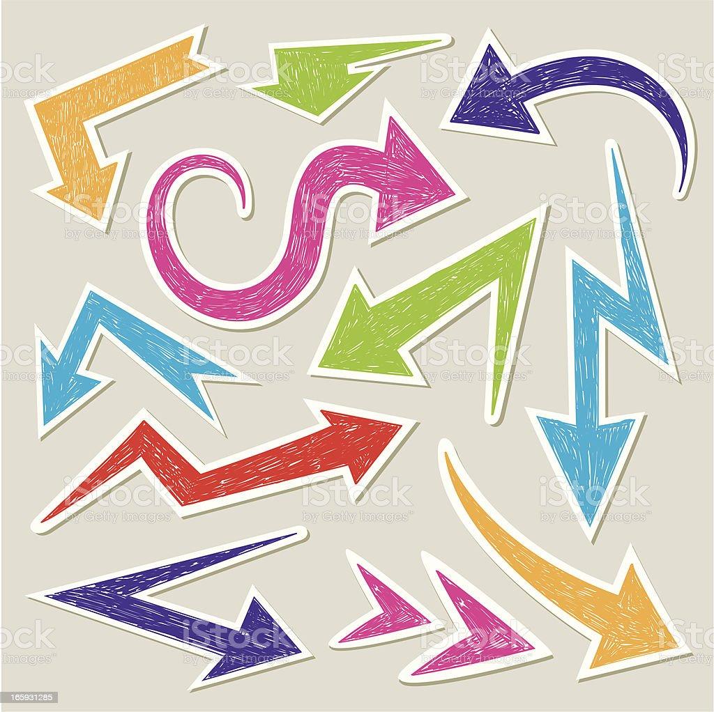 Arrows doodle stickers vector art illustration