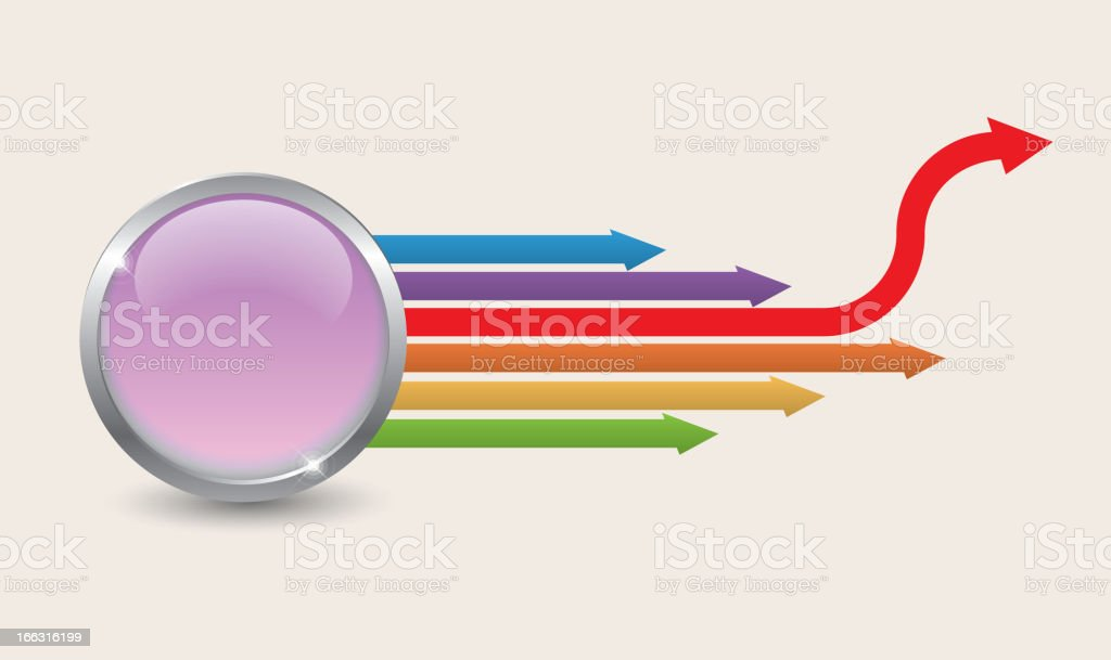 Arrows extending from the button vector art illustration