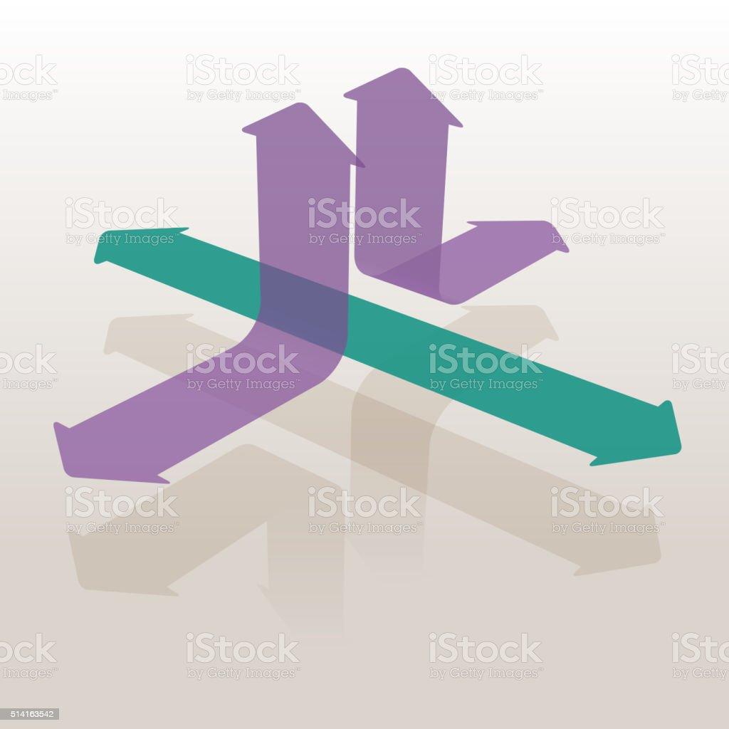 Arrows Going Different Ways vector art illustration