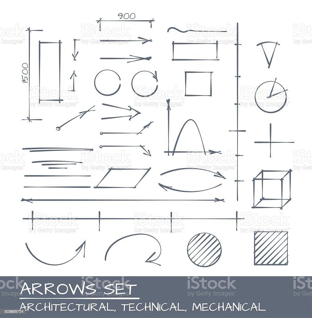 Arrows Hand Drawn Set vector art illustration
