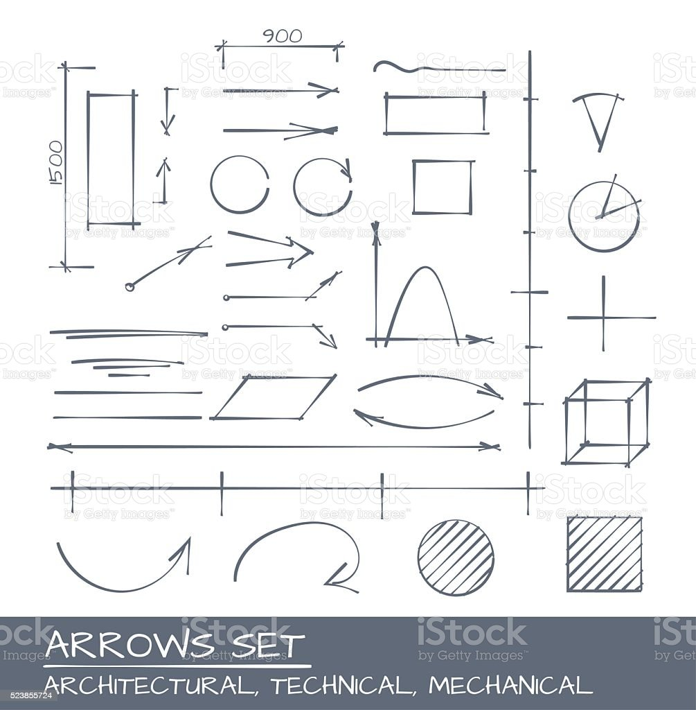 Arrows Hand Drawn Set vector art illustration