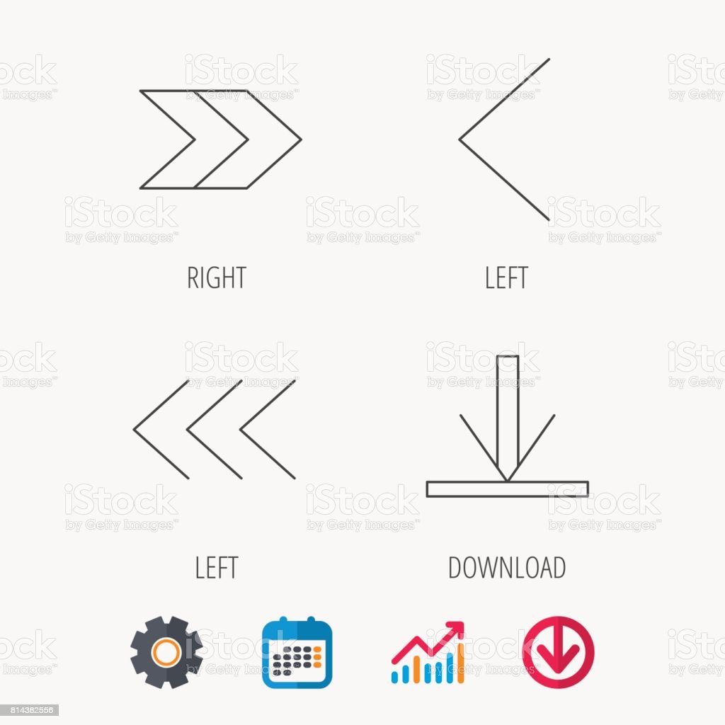 Arrows icons. Download, left and right signs. vector art illustration
