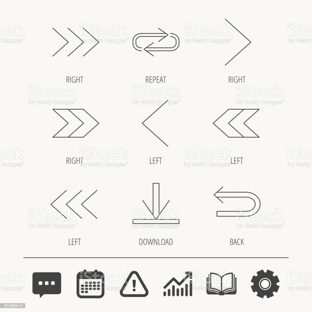 Arrows icons. Download, repeat linear signs. vector art illustration