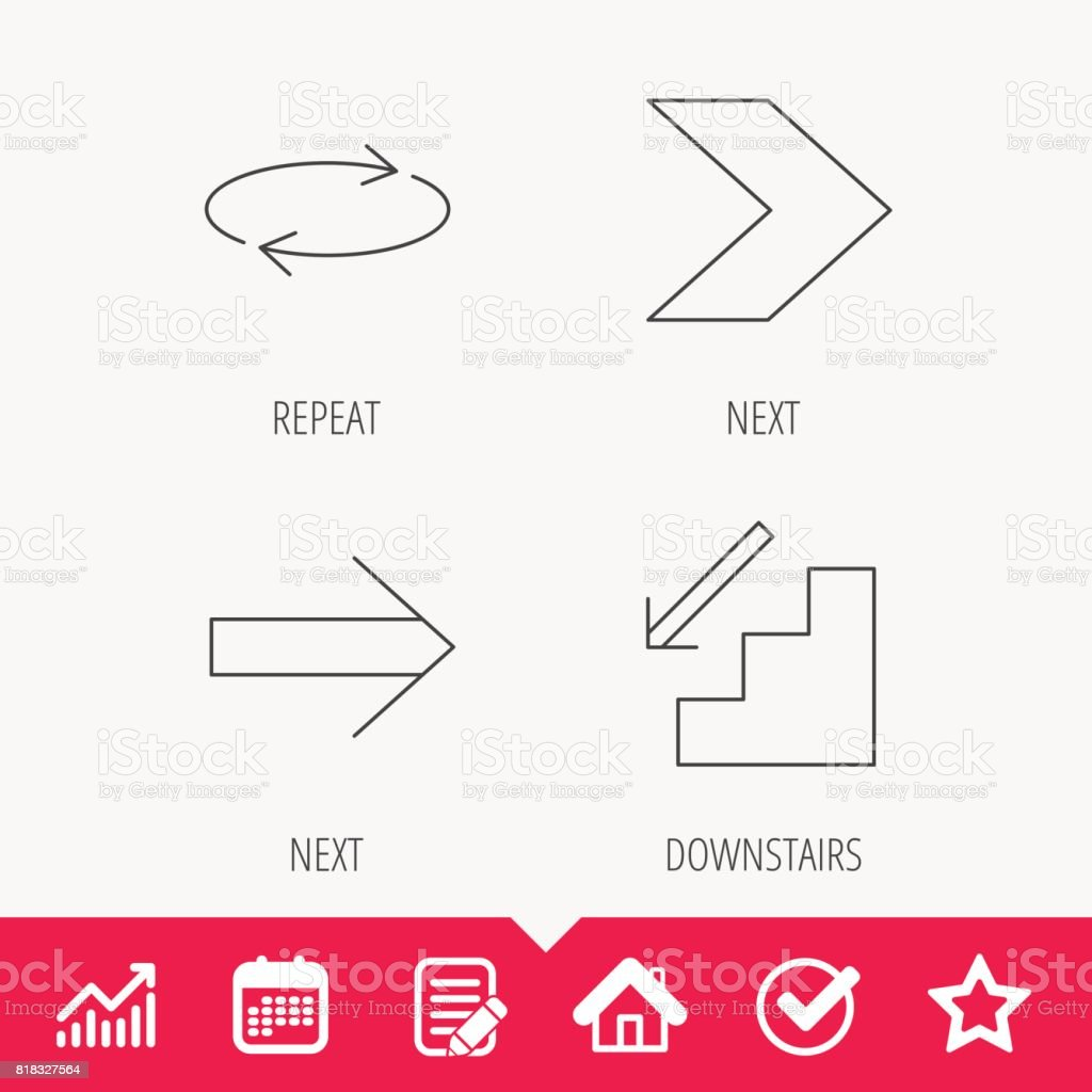 Arrows icons. Downstairs, repeat linear signs. vector art illustration