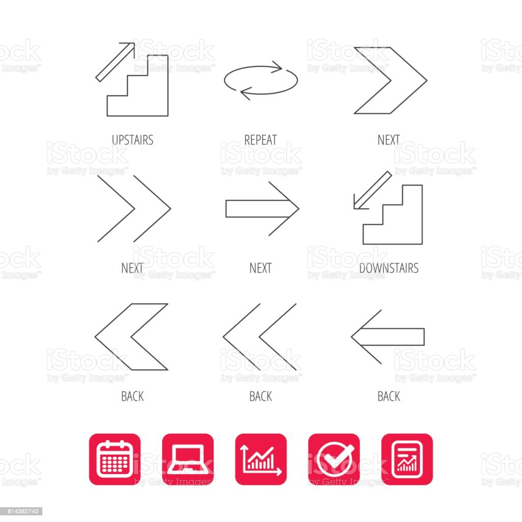Arrows icons. Upstairs, repeat linear signs. vector art illustration