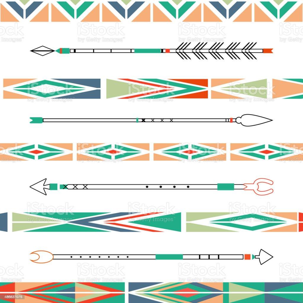 Arrows, Indian elements, Aztec borders and embellishments in vector vector art illustration