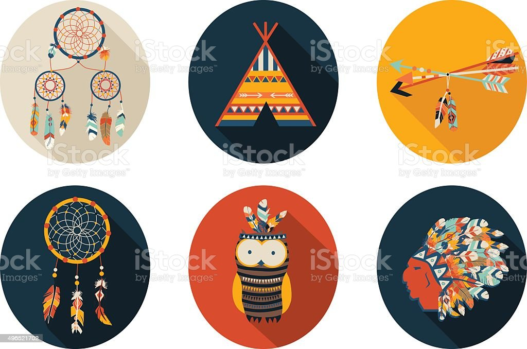 Arrows, Indian elements, Aztec ornaments geometric ethnic vector. Flat illustration. vector art illustration