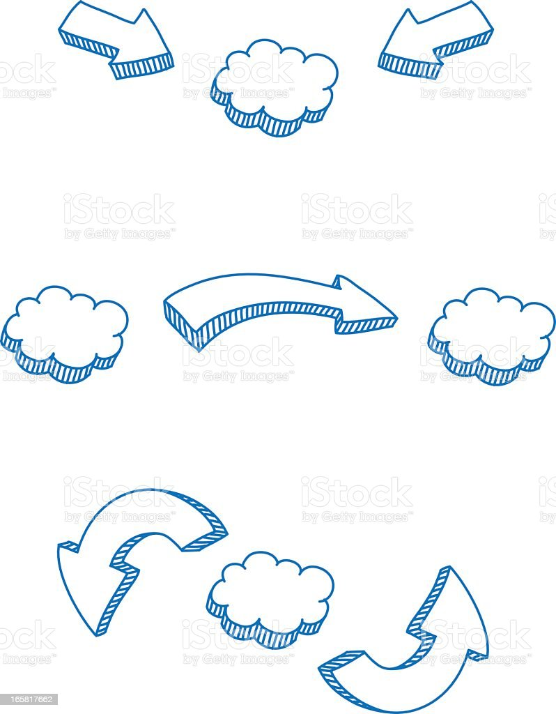 Arrows pointing at clouds to represent cloud computing royalty-free stock vector art