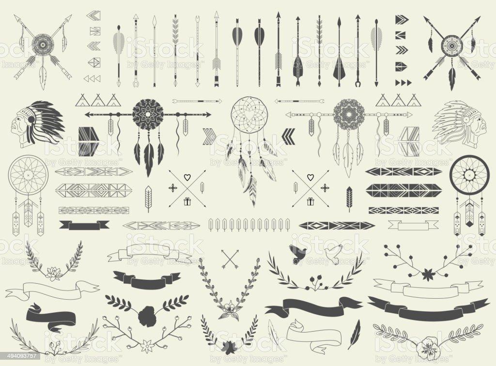 Arrows, ribbons, Indian elements, Aztec borders and embellishments vector art illustration