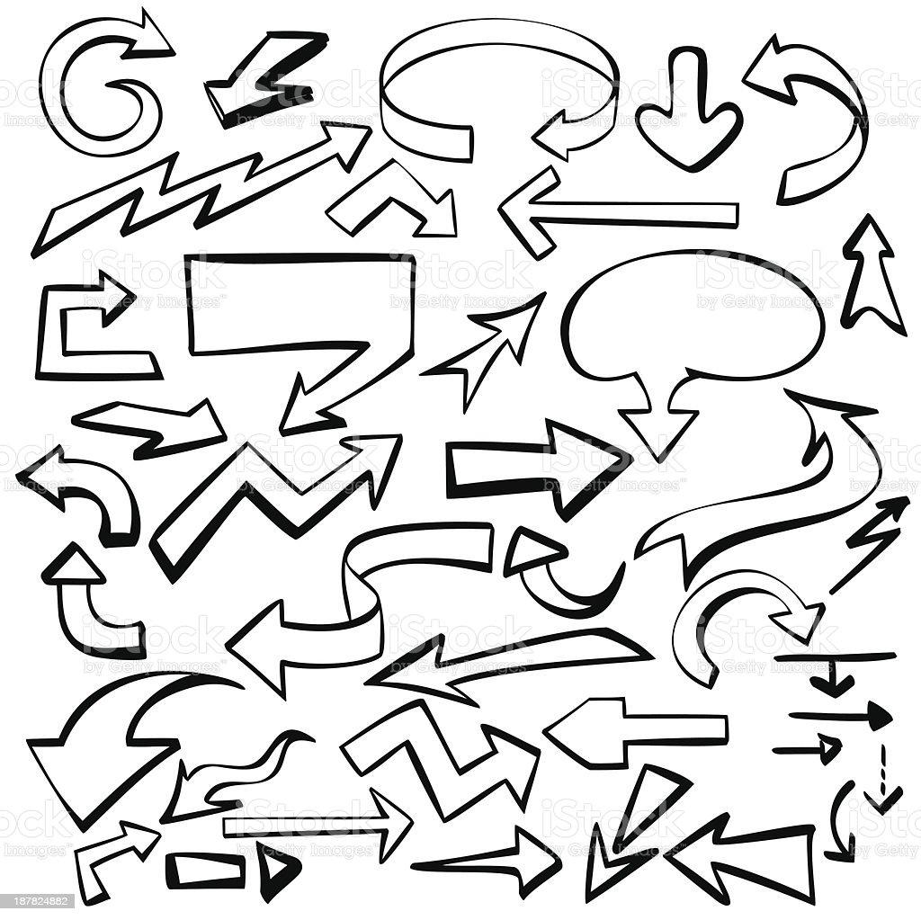 arrows set vector illustration sketch royalty-free stock vector art