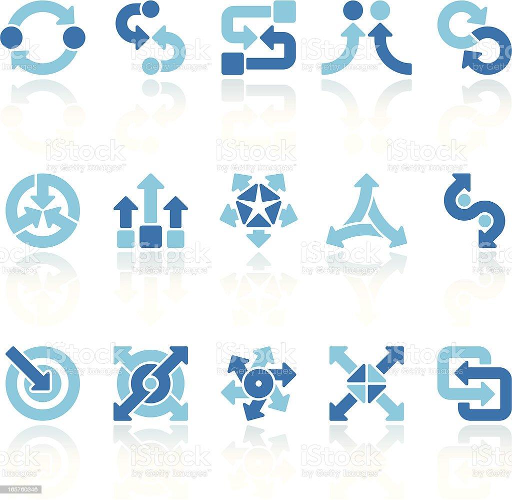 arrows signs set blue VII vector art illustration