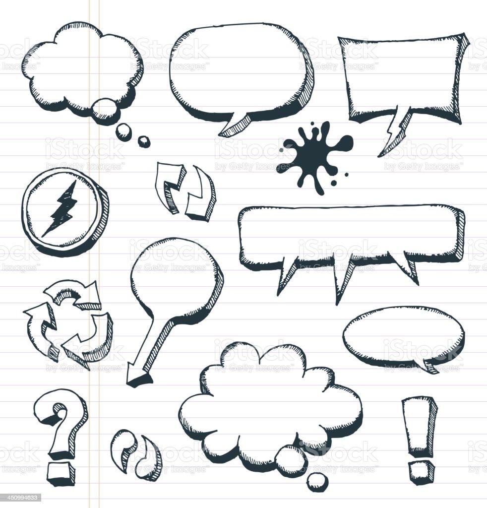 Arrows, Speech Bubbles And Doodle Elements Set royalty-free stock vector art