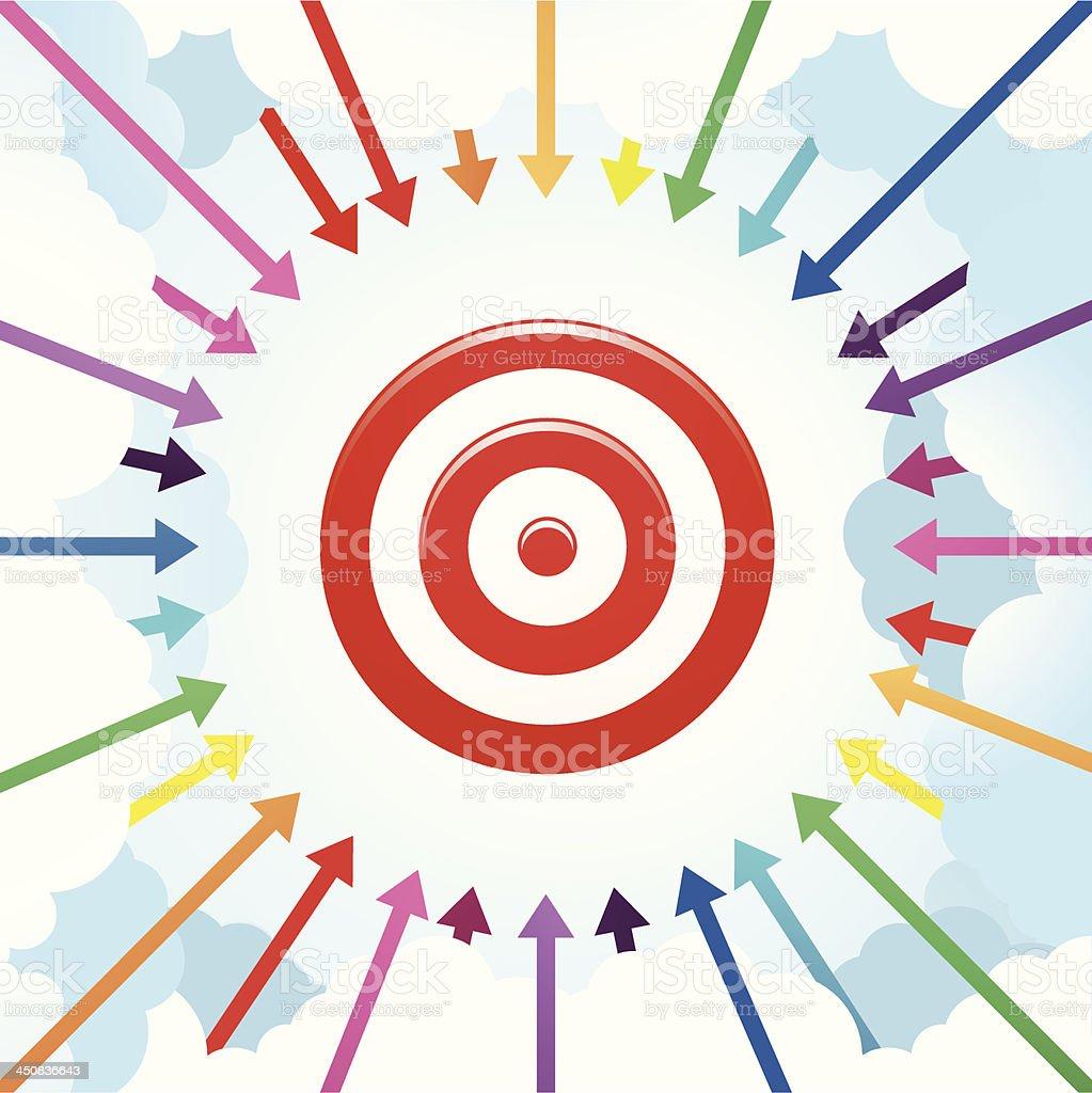 Arrows Surrounding a Target royalty-free stock vector art