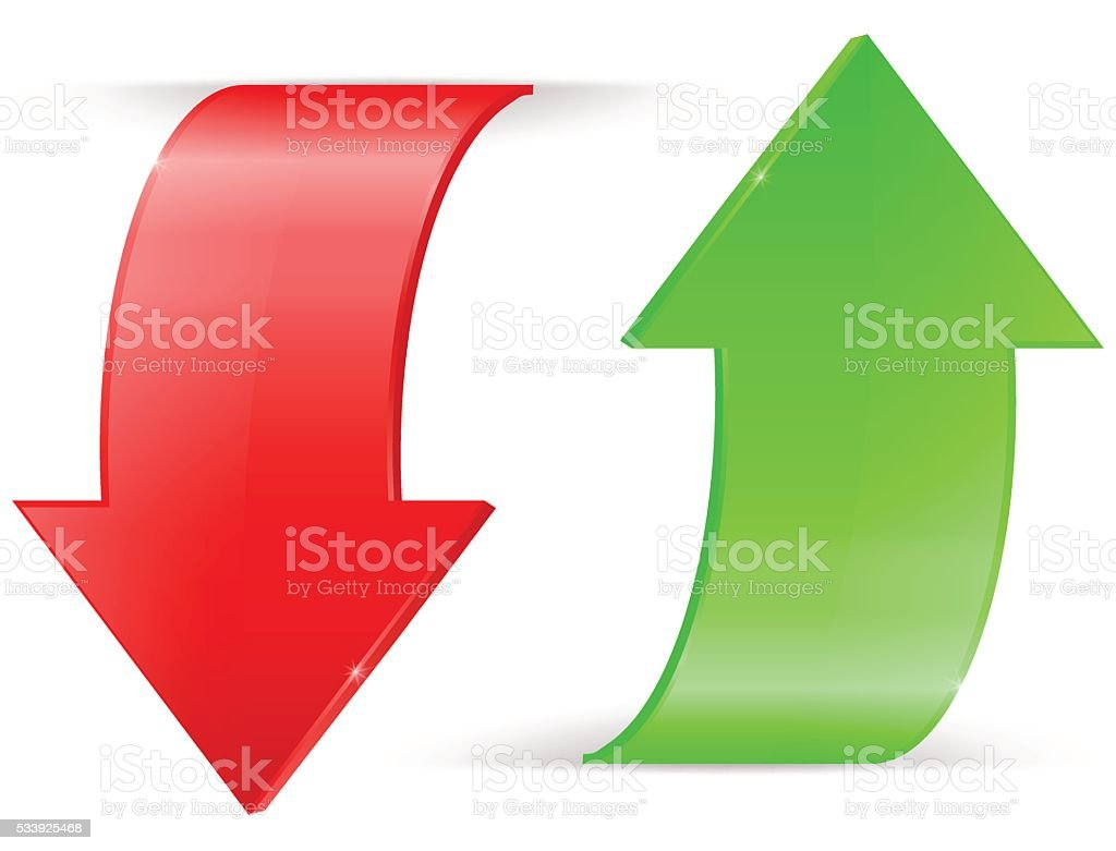 Arrows UP and DOWN. Green and red icons vector art illustration