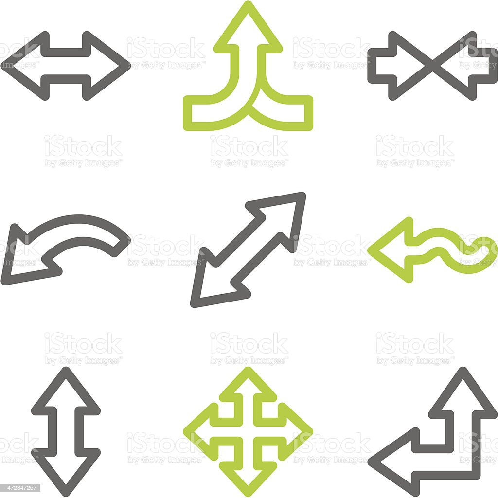 Arrows web icons set 2, green and gray contour series royalty-free stock vector art