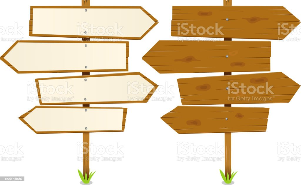 Arrows Wooden Sign vector art illustration