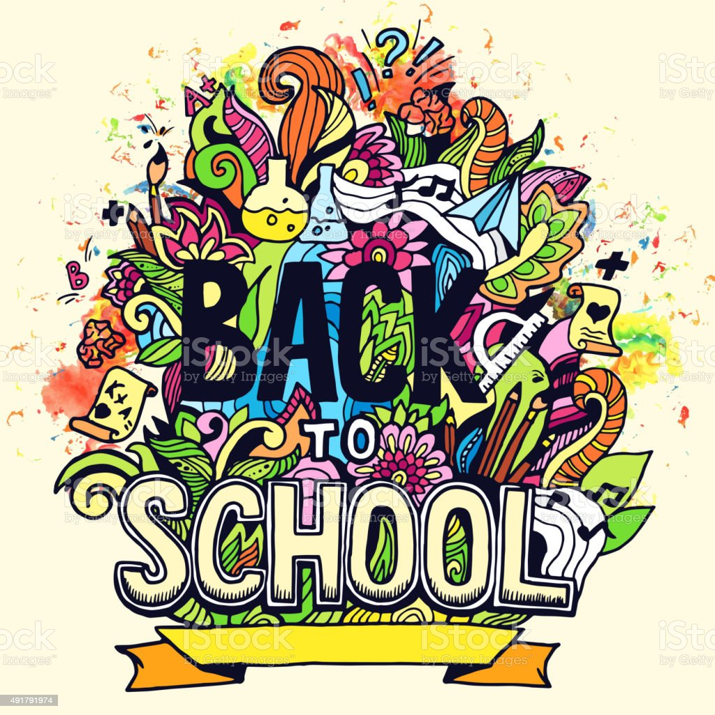 Art abstract illustration with calligraphy text 'back to school' background vector art illustration