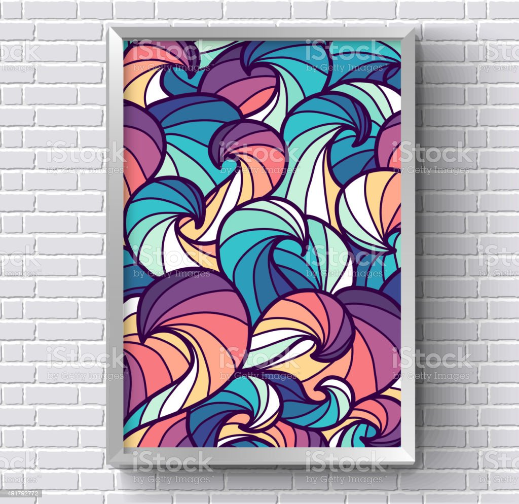 art abstract painting picture with rainbow colors on brick wall vector art illustration
