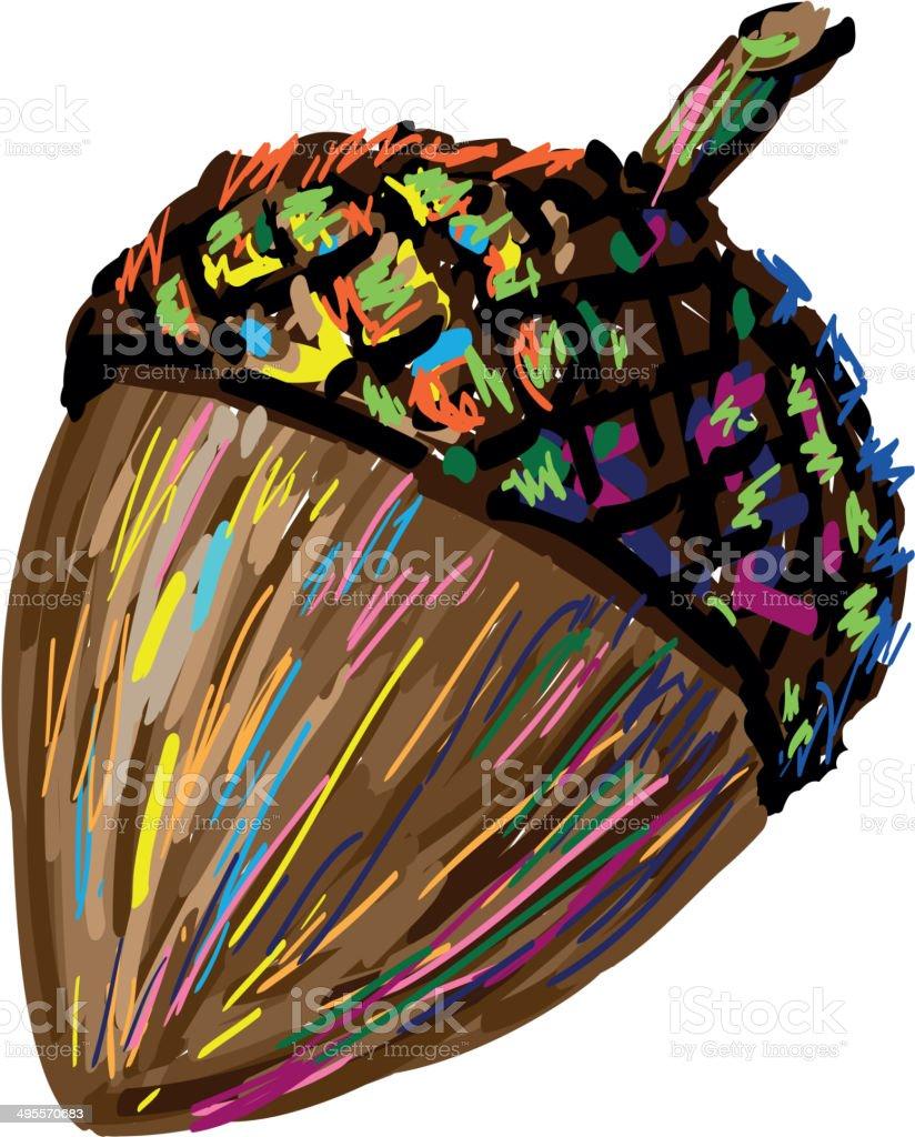 Art acorn vector art illustration