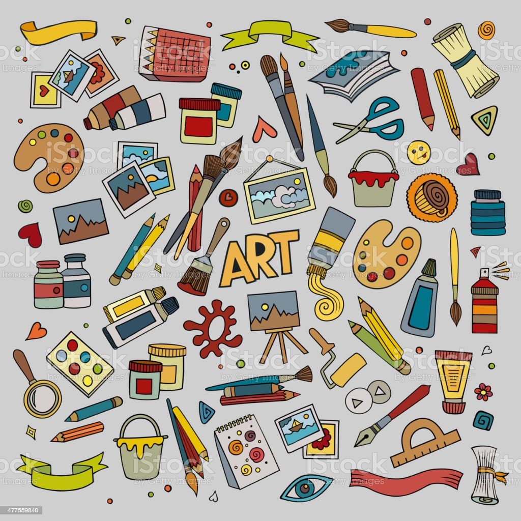 Art and craft vector symbols and objects vector art illustration