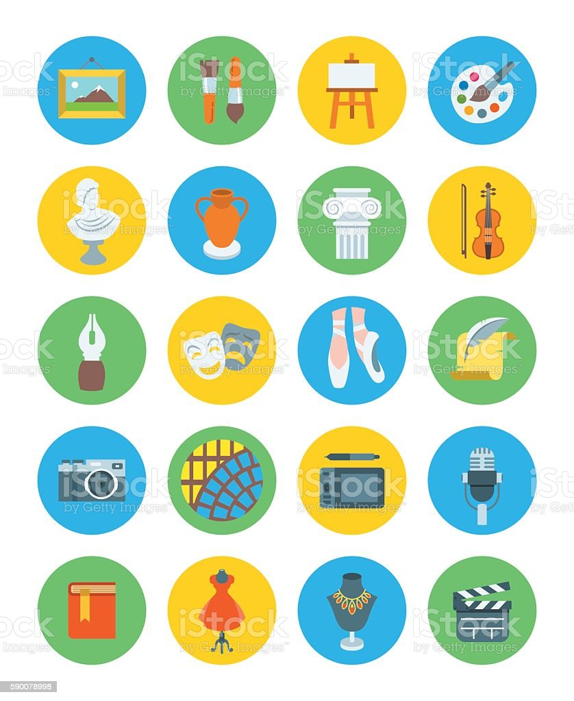 Art and crafts flat vector round icons set vector art illustration