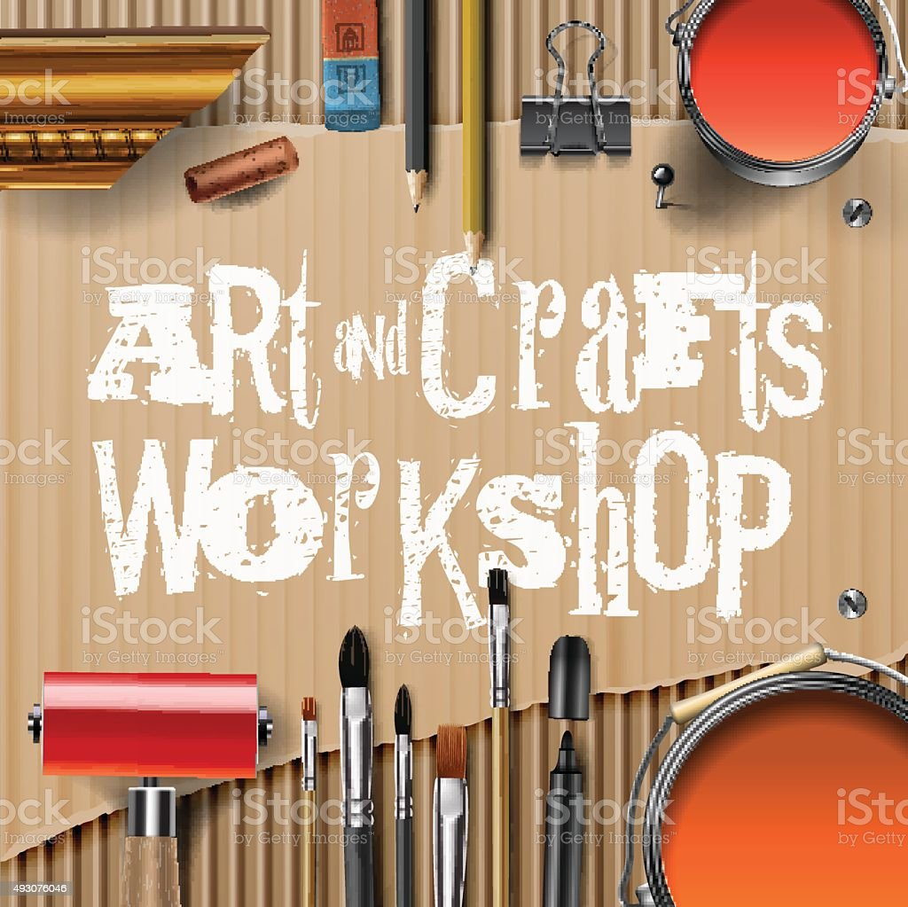 Art and crafts template with artist tools vector art illustration