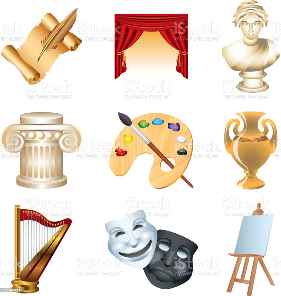 art and culture icons set royalty-free stock vector art