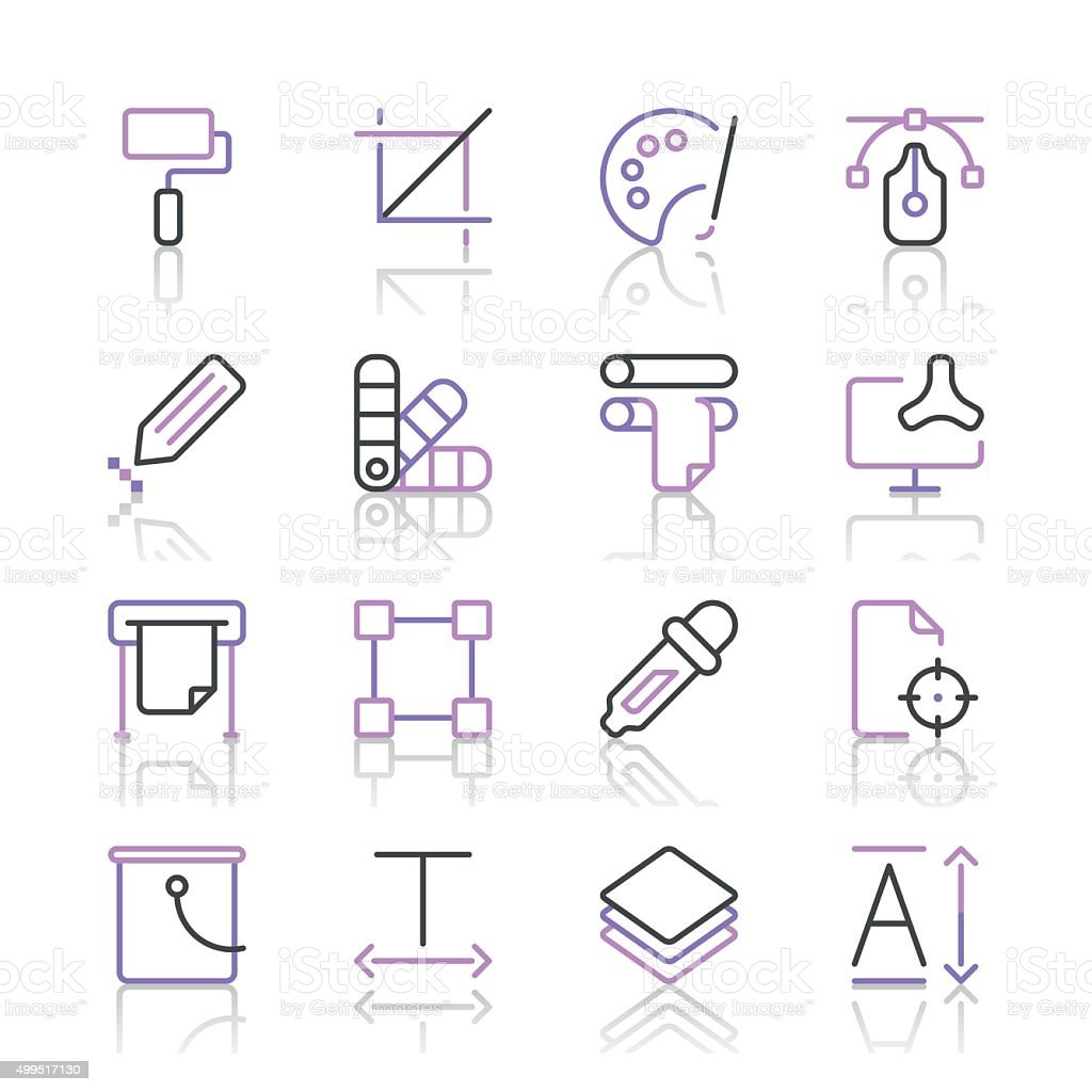 Art and Design Icons set 1 | Purple Line series vector art illustration