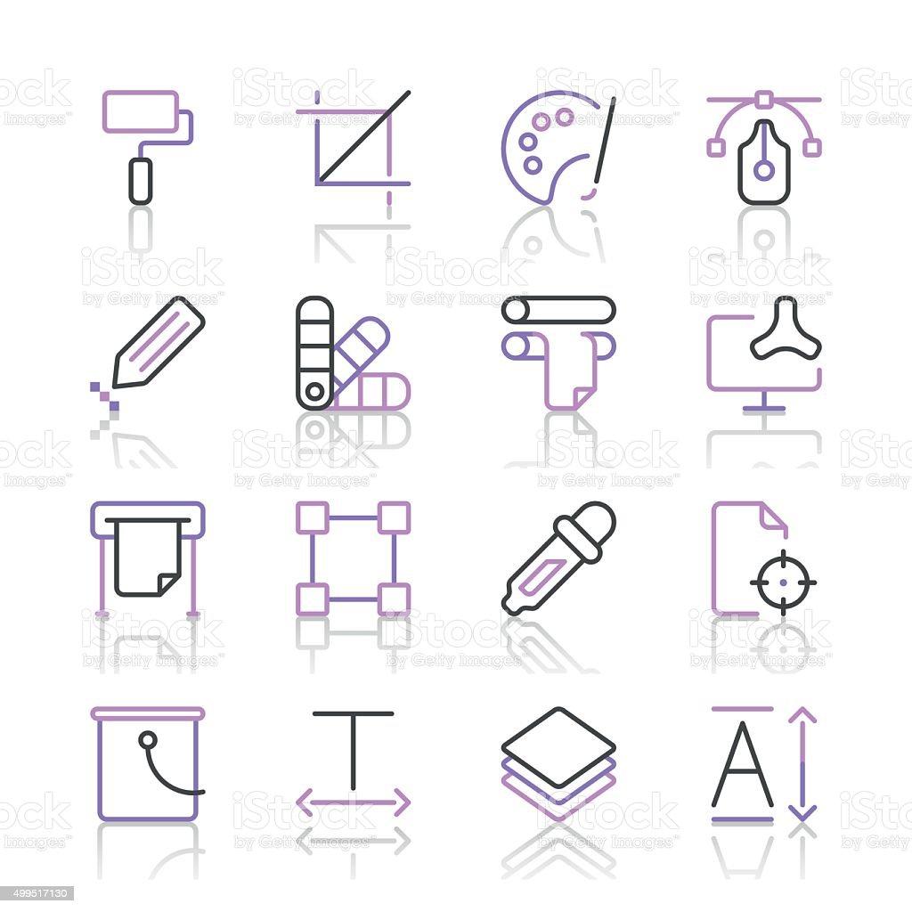 Art and Design Icons set 1 | Purple Line series vector art illustration