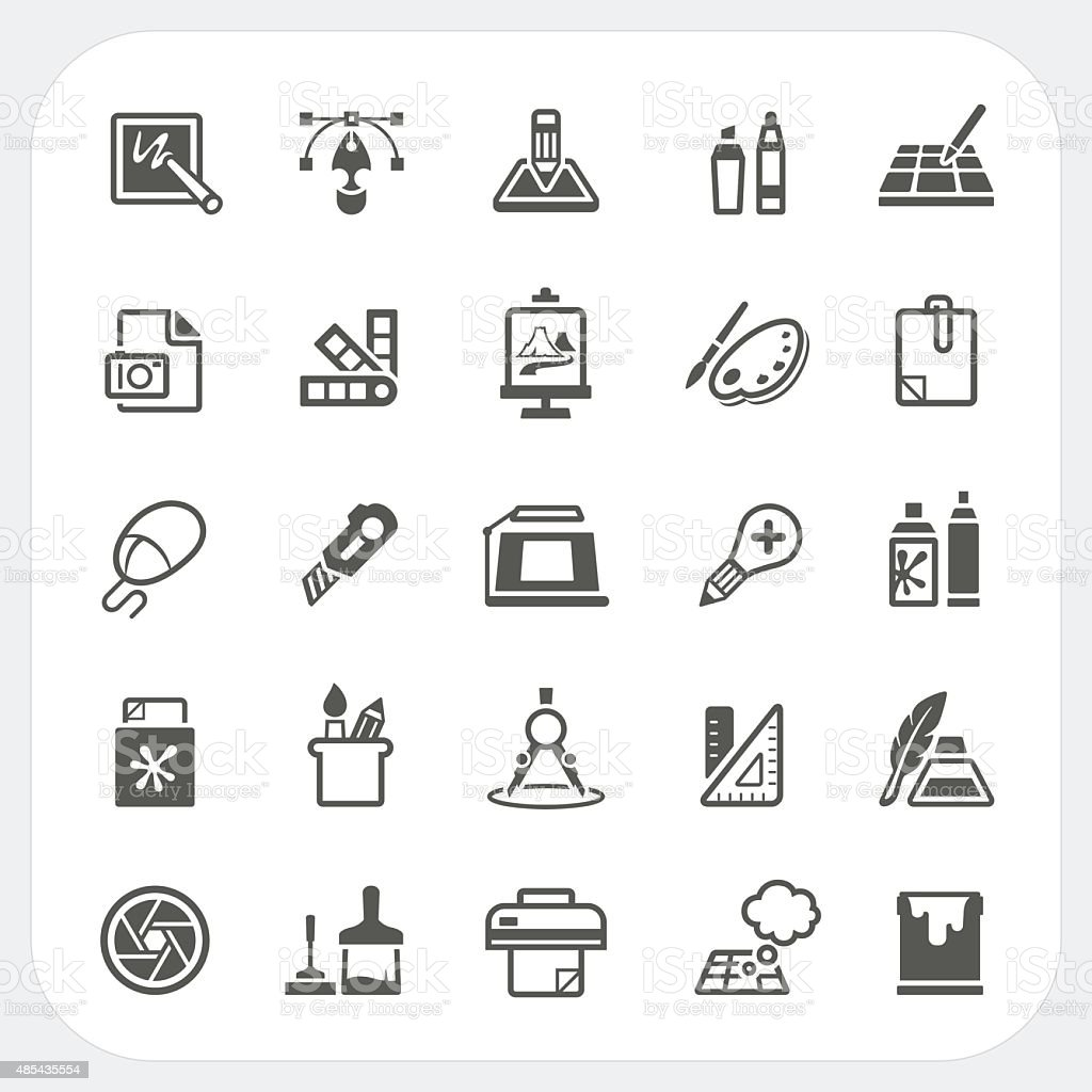 Art and Graphic design icons set vector art illustration