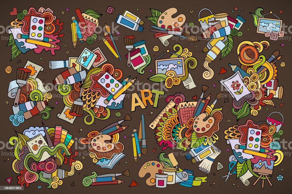 Art and paint materials doodles hand drawn symbols vector art illustration