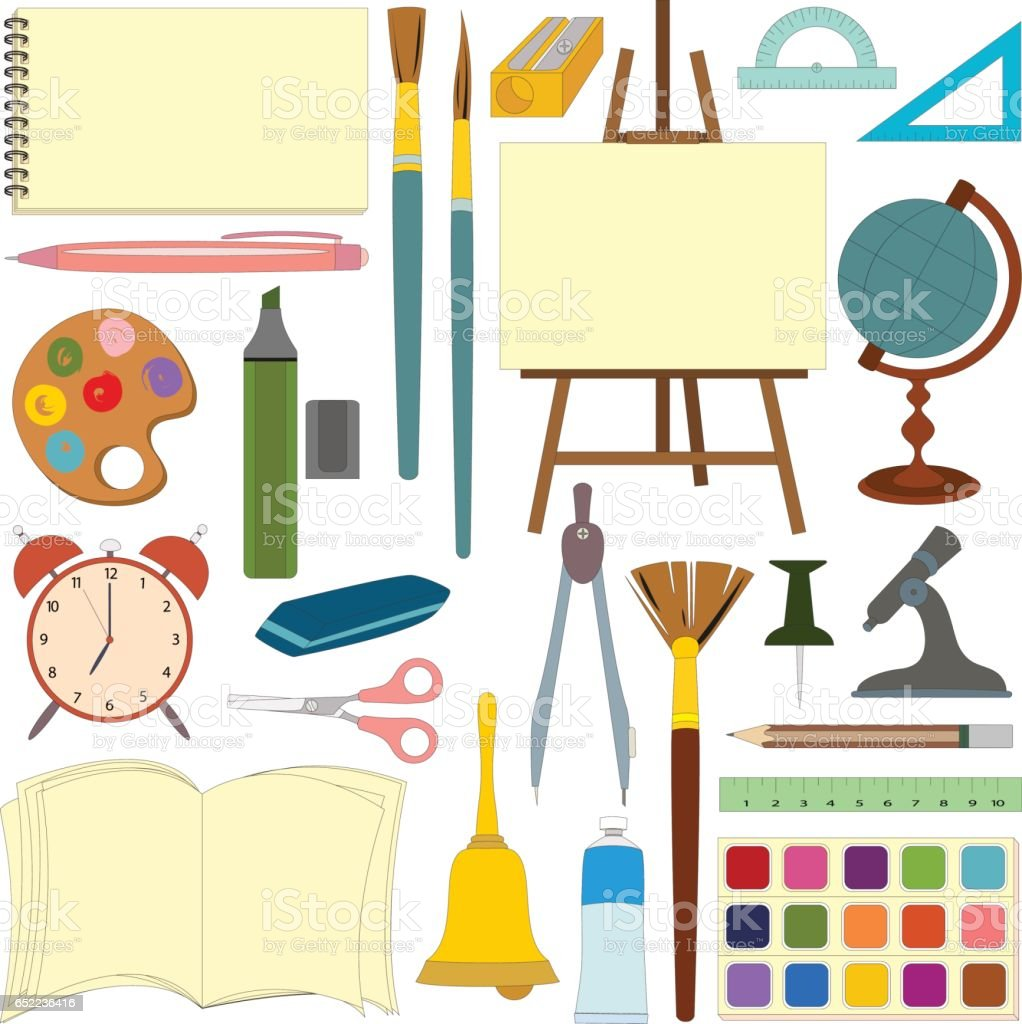 art and school supplies for education isolated on white background vector art illustration