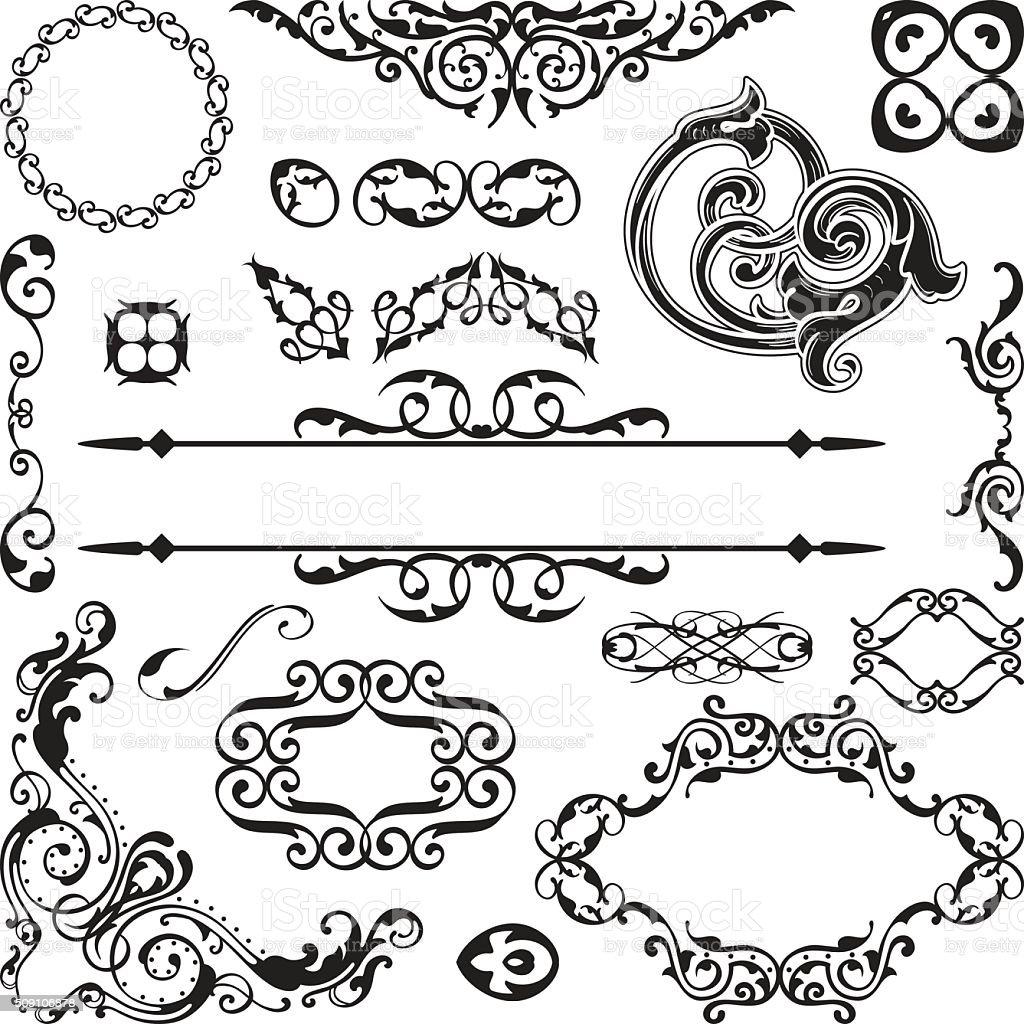 Art baroque ornate set vector art illustration